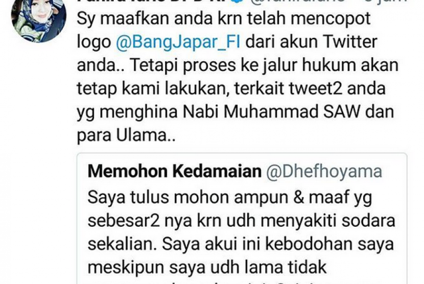 Senator Fahira Idris said, she has forgiven @dhefhoyama as he has took off Bang Japar logo from his Twitter account bio. Nevertheless, she will continue to process his insulting tweet against Prophet Muhammad PBUH and ulamas.
