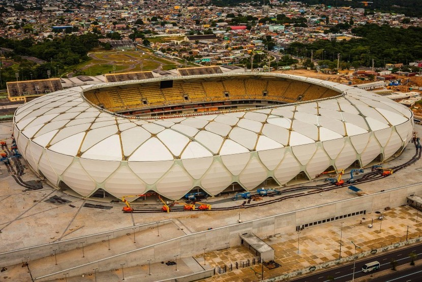 Arena da Amazonia stadium on the day of its inauguration in Manaus in the state of Amazonas, Brazil
