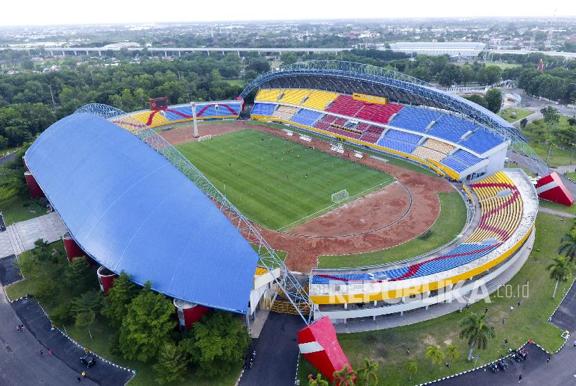 Aerial view of Jakabaring Sport City (JSC), Palembang, South Sumatra.