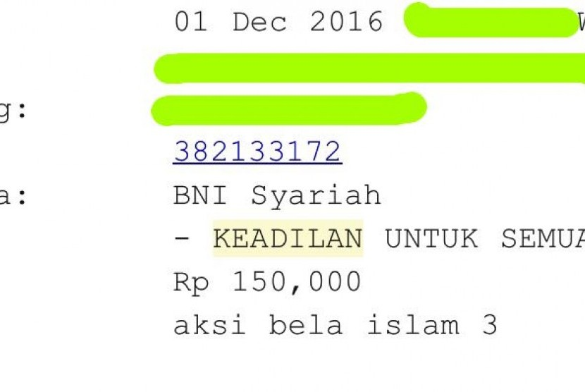 GNPF MUI uses the bank account of Yayasan Keadilan untuk Semua (YKUS, Justice for All Foundation) to accomodate donations from the people.