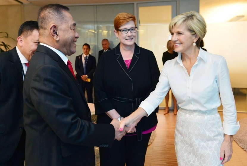 Indonesia's Defense Minister Ryamizard Ryacudu meets his Australian counterpart Marise Payne and Foreign Minister Julie Bishop in Sydney, Friday (March 16).