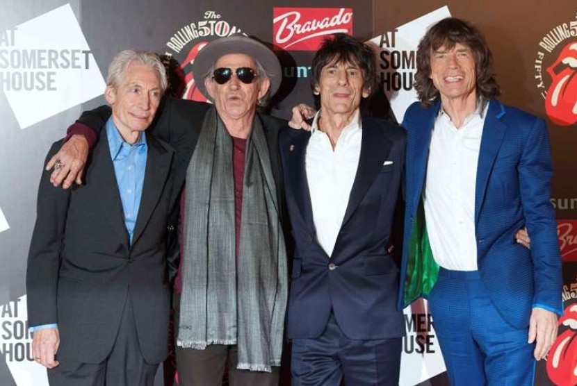 Para personel The Rolling Stones (Kiri ke Kanan) Charlie Watts, Keith Richards, Ronnie Wood dan Mick Jagger