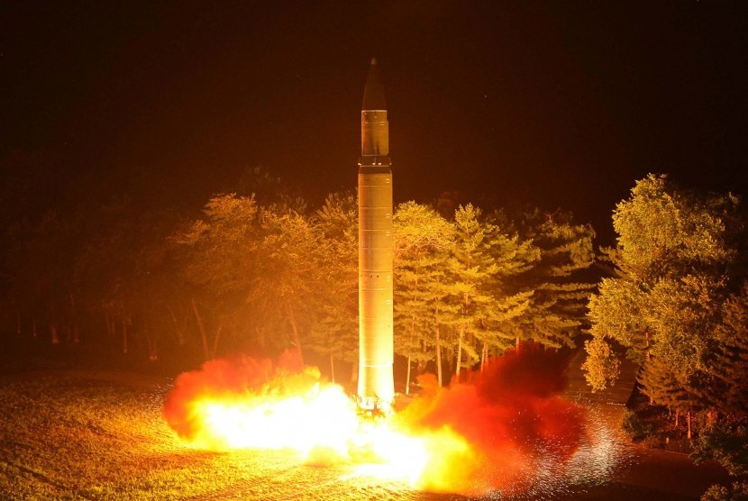 North Korea launches its intercontinental ballistic missile Hwasong-14 at unknown location.