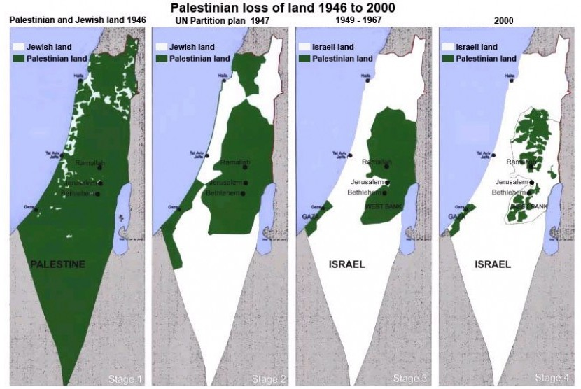 Palestinian area shrinks over time.